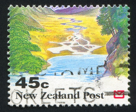 runoff: NEW ZEALAND - CIRCA 1992: stamp printed by New Zealand, shows Scenic Views of New Zealand, Glacial runoff, circa 1992