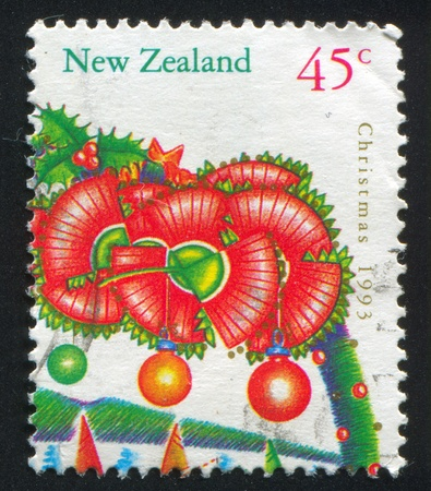 NEW ZEALAND - CIRCA 1993: stamp printed by New Zealand, shows Christmas, Flowers from pohutukawa tree, circa 1993 photo