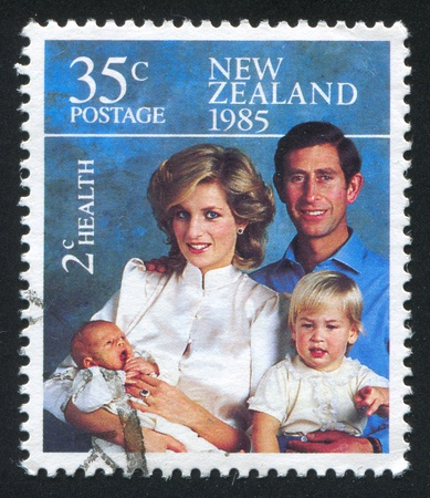 henry: NEW ZEALAND - CIRCA 1985: stamp printed by New Zealand, shows Princess Diana and Princes Charles, William and Henry, circa 1985