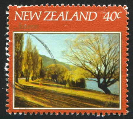 poplar  banks: NEW ZEALAND - CIRCA 1982: stamp printed by New Zealand, shows Autumn, Queenstown, circa 1982