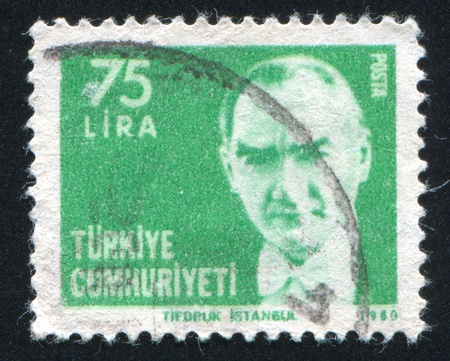 ataturk: TURKEY - CIRCA 1980: stamp printed by Turkey, shows president Kemal Ataturk, circa 1980.