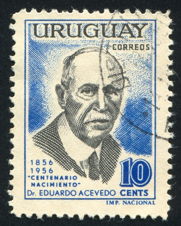 eduardo: URUGUAY - CIRCA 1957: stamp printed by Uruguay, shows Eduardo Acevedo, circa 1957 Editorial
