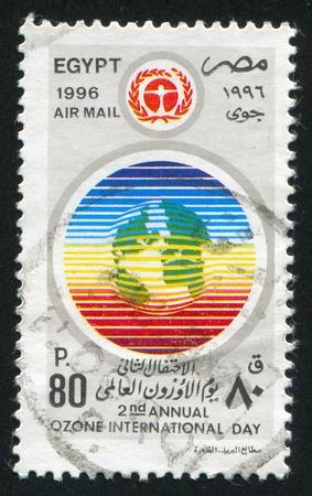 EGYPT - CIRCA 1996: stamp printed by Egypt, shows Ozone day emblem, circa 1996. Stock Photo - 13633233
