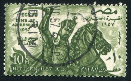 abjad: EGYPT - CIRCA 1957: stamp printed by Egypt, shows Sultan Saladin, horse, circa 1957