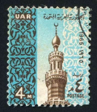 EGYPT - CIRCA 1965: stamp printed by Egypt, shows Minaret Mardani Mosque, circa 1965 Stock Photo - 13634755