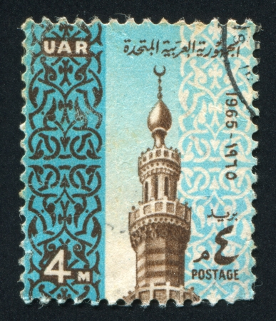 arabische letters: EGYPTE - CIRCA 1965: stempel gedrukt door Egypte, toont Minaret Mardani Moskee, circa 1965