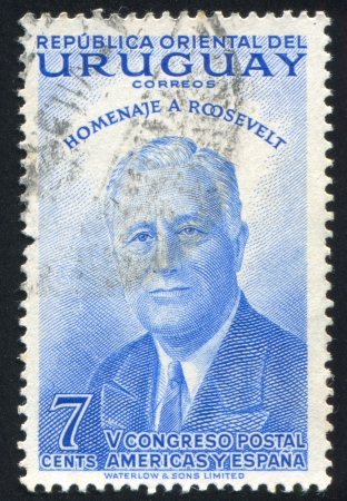 URUGUAY - CIRCA 1953: stamp printed by Uruguay, shows Franklin Roosevelt, circa 1953