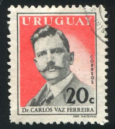 carlos: URUGUAY - CIRCA 1959: stamp printed by Uruguay, shows Carlos Vaz Ferreira, circa 1959