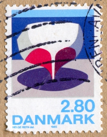 DENMARK - CIRCA 1985: stamp printed by Denmark, shows Boat, by Helge Refn, circa 1985 photo