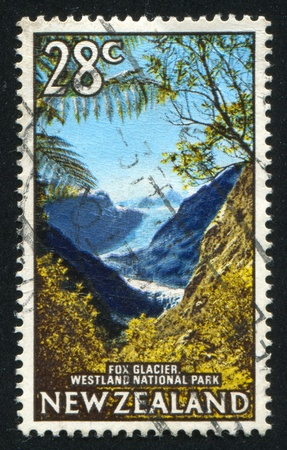 fox glacier: NEW ZEALAND - CIRCA 1967: stamp printed by New Zealand, shows Fox Glacier, Westland National Park , circa 1967 Stock Photo