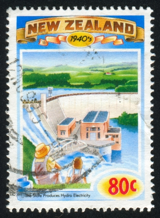 hydroelectricity: NEW ZEALAND - CIRCA 1993: stamp printed by New Zealand, shows State produces hydroelectricity, circa 1993 Stock Photo