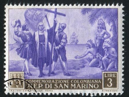 colonizer: SAN MARINO - CIRCA 1952: stamp printed by San Marino, shows Landing of  Christopher Columbus, circa 1952