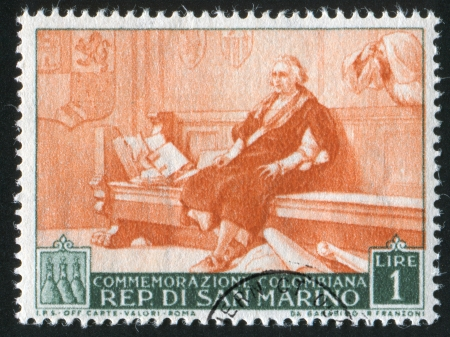 colonizer: SAN MARINO - CIRCA 1952: stamp printed by San Marino, shows Christopher Columbus, circa 1952