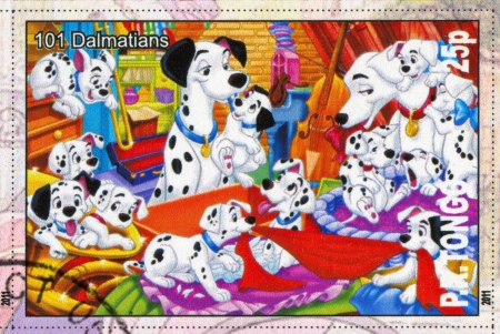 TONGO - CIRCA 2011: stamp printed by Tongo, shows Walt Disney cartoon character, 101 Dalmatians, circa 2011