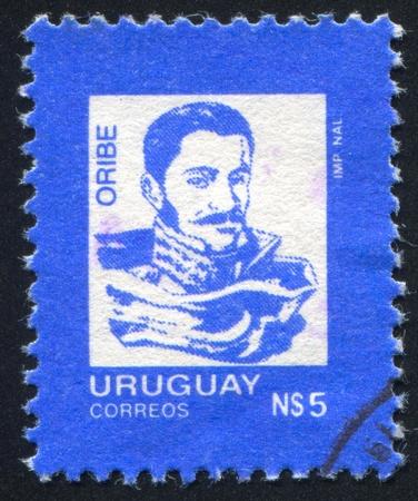 URUGUAY - CIRCA 1986: stamp printed by Uruguay, shows General Manuel Ceferino Oribe, President , circa 1986 Stock Photo - 13692043