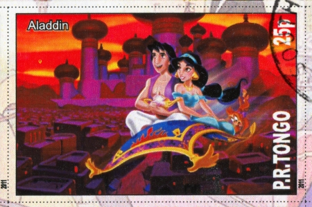 TONGO - CIRCA 2011: stamp printed by Tongo, shows Walt Disney cartoon character, Aladdin, circa 2011