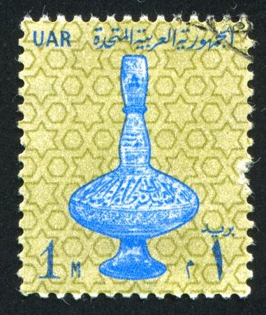 abjad: EGYPT - CIRCA 1963: stamp printed by Egypt, shows Ancient vessel, circa 1963 Stock Photo