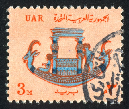 EGYPT - CIRCA 1964: stamp printed by Egypt, shows Pharaonic calcite boat, circa 1964 Stock Photo - 13763788