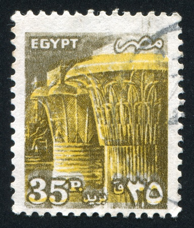 abjad: EGYPT - CIRCA 1990: stamp printed by Egypt, shows Temple of Karnak, carved Capitals, circa 1990