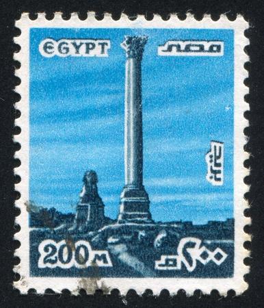 abjad: EGYPT - CIRCA 1978: stamp printed by Egypt, shows Column, Alexandria, Sphinx, circa 1978