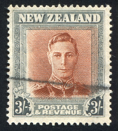 NEW ZEALAND - CIRCA 1944: stamp printed by New Zealand, shows King George VI, circa 1944