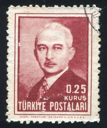 mustafa: TURKEY - CIRCA 1945: stamp printed by Turkey, shows Mustafa Ismet Inonu, President, circa 1945.