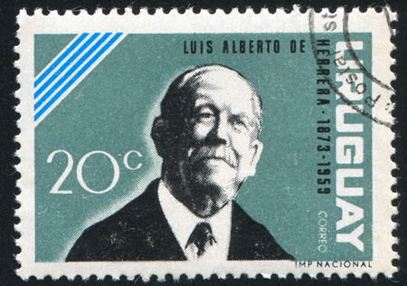 alberto: URUGUAY - CIRCA 1964: sello impreso por el Uruguay, muestra Luis Alberto de Herrera, alrededor del a�o 1964