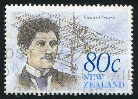 richard: NEW ZEALAND - CIRCA 1990: stamp printed by New Zealand, shows The Achiever, Richard Pearse, inventor, circa 1990