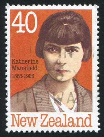 katherine: NEW ZEALAND - CIRCA 1989: stamp printed by New Zealand, shows Portraits of authors, Katherine Mansfield, circa 1989