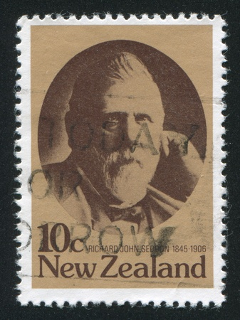 NEW ZEALAND - CIRCA 1979: stamp printed by New Zealand, shows Richard John Seddon, 19th centenary New Zealand statesman, circa 1979 Stock Photo - 13893442