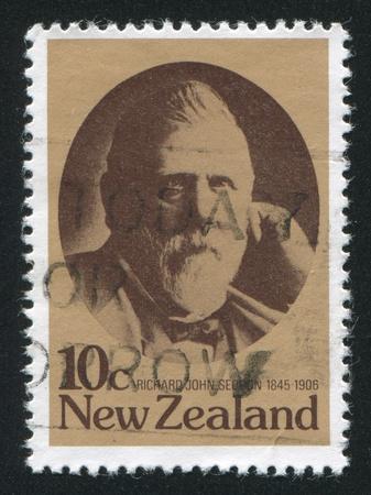 NEW ZEALAND - CIRCA 1979: stamp printed by New Zealand, shows Richard John Seddon, 19th centenary New Zealand statesman, circa 1979 Stock Photo - 13893442