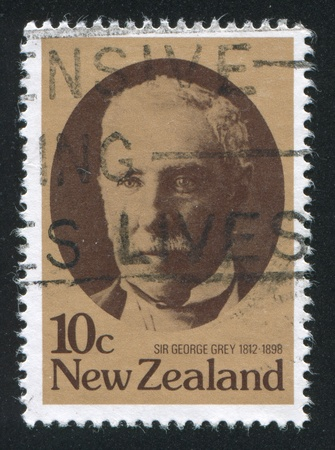 NEW ZEALAND - CIRCA 1979: stamp printed by New Zealand, shows Sir George Grey, 19th centenary New Zealand statesman, circa 1979 Stock Photo - 13893441