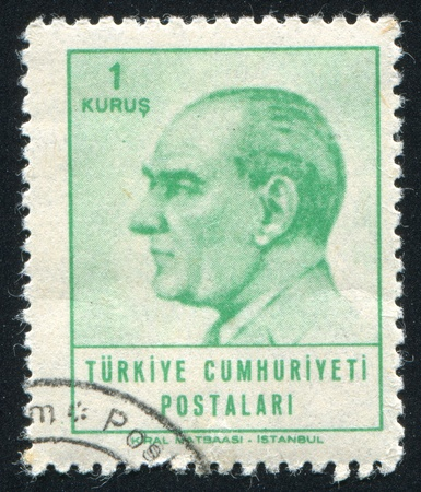 TURKEY - CIRCA 1965: stamp printed by Turkey, shows president Kemal Ataturk, circa 1965.