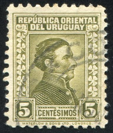 URUGUAY - CIRCA 1928: stamp printed by Uruguay, shows Jose Gervasio Artigas, circa 1928 Stock Photo - 13893440