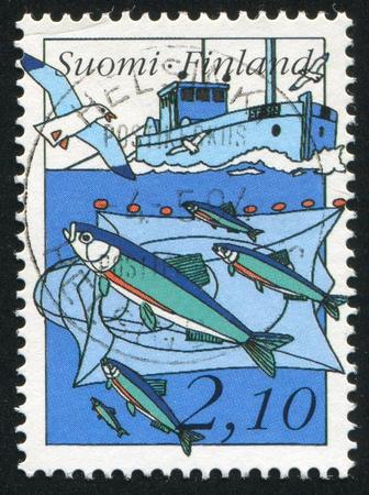 FINLAND - CIRCA 1991: stamp printed by Finland, shows Fishing, circa 1991 photo