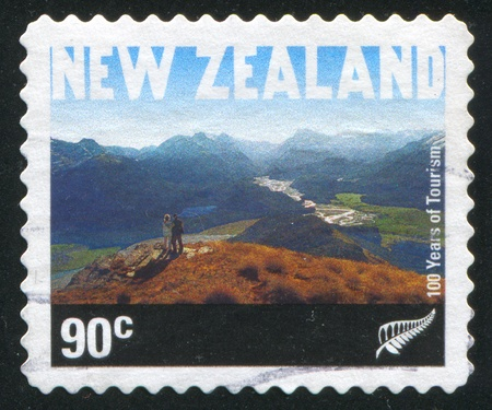 sightseers: NEW ZEALAND - CIRCA 2001: stamp printed by New Zealand, shows Sightseers on Mountain Alfred, circa 2001