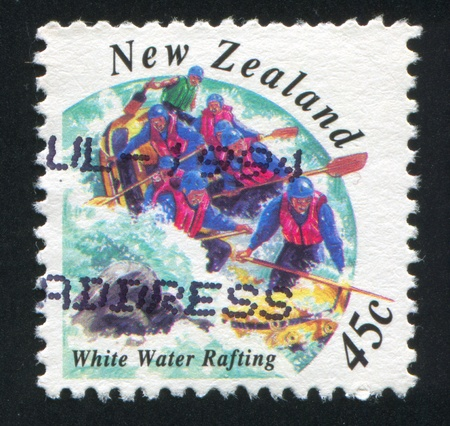 NEW ZEALAND - CIRCA 1994: stamp printed by New Zealand, shows Extreme Sports, White Water Rafting, circa 1994 photo