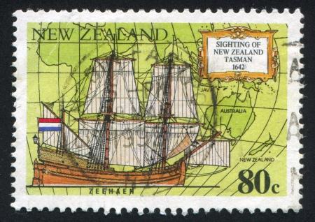 NEW ZEALAND - CIRCA 1992: stamp printed by New Zealand, shows Abel Tasman's ship Zeehaen, circa 1992 Stock Photo - 13891945