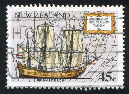 NEW ZEALAND - CIRCA 1992: stamp printed by New Zealand, shows Abel Tasmans ship Heemskerck, circa 1992 photo