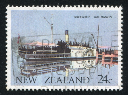 NEW ZEALAND - CIRCA 1984: stamp printed by New Zealand, shows Ferry Mountaineer, Lake Wakatipu, circa 1984 photo