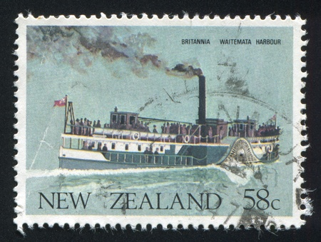 NEW ZEALAND - CIRCA 1984: stamp printed by New Zealand, shows Britannia, Waitemata Harbor, circa 1984 photo