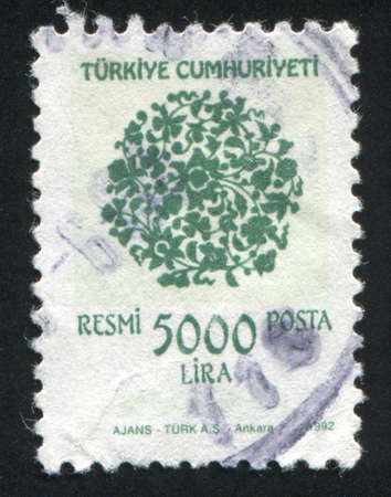 TURKEY - CIRCA 1992: stamp printed by Turkey, shows turkish pattern, circa 1992. photo