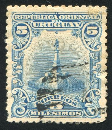 URUGUAY - CIRCA 1899: stamp printed by Uruguay, shows Statue of Artigas, circa 1899 Stock Photo - 13891852