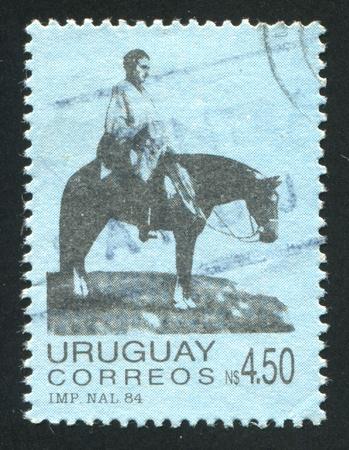 artigas: URUGUAY - CIRCA 1984: stamp printed by Uruguay, shows Artigas on the Plains, circa 1984