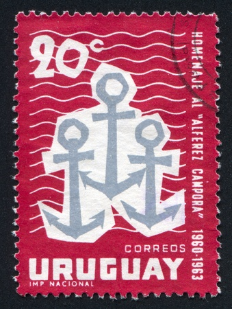 URUGUAY - CIRCA 1963: stamp printed by Uruguay, shows Anchors, circa 1963 Stock Photo - 13891851