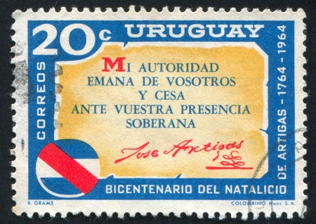 URUGUAY - CIRCA 1965: stamp printed by Uruguay, shows Artigas Quotation, circa 1965 Stock Photo - 13892126