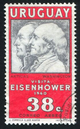 URUGUAY - CIRCA 1960: stamp printed by Uruguay, shows Jose Artigas and George Washington, circa 1960 Stock Photo - 13892257