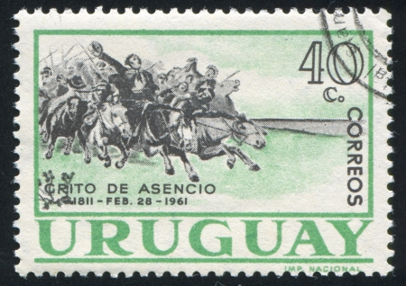 cavalry: URUGUAY - CIRCA 1961: stamp printed by Uruguay, shows Cavalry Charge, circa 1961