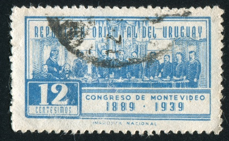 URUGUAY - CIRCA 1939: stamp printed by Uruguay, shows International Law Congress, circa 1939 Stock Photo - 13892123