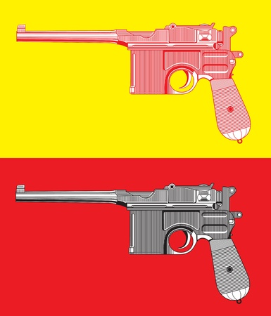 defend: Mauser gun isolated on  background. Illustration